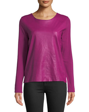 570285ee62f6 Majestic Paris for Neiman Marcus Leather-Front Long-Sleeve Top