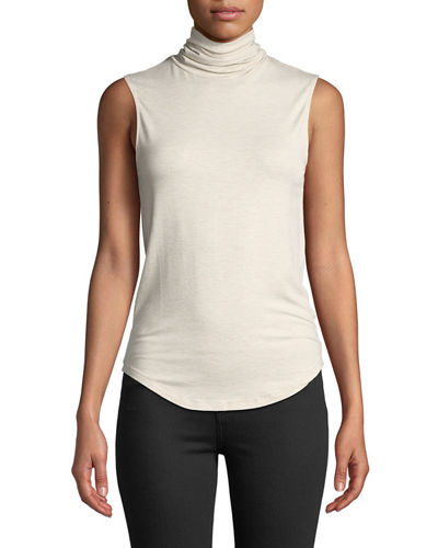 Sleeveless Cotton-Cashmere Turtleneck Top