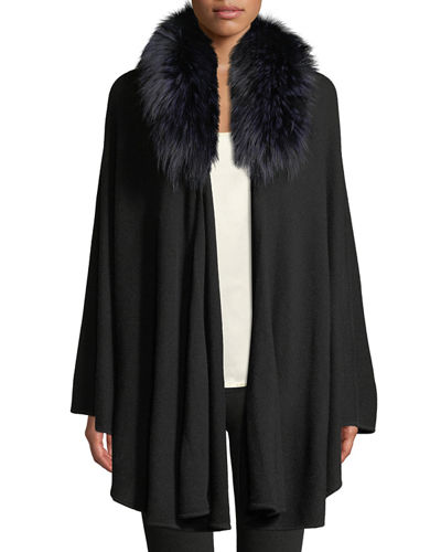 Cape-Sleeve Cardigan Sweater w/ Detachable Fur Collar