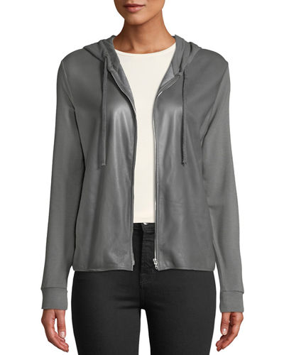 Leather-Front Zip-Front Hoodie
