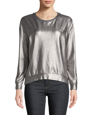 Majestic Paris for Neiman Marcus Long-Sleeve Metallic Pullover