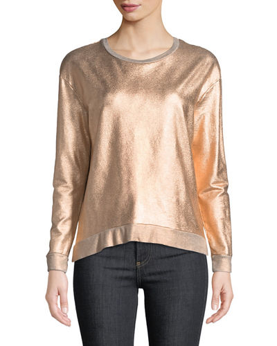 Long-Sleeve Metallic Pullover Sweater