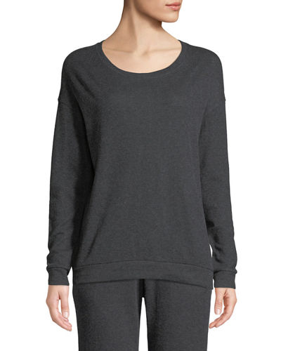 Cotton-Cashmere Crewneck Pullover Sweater