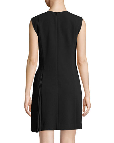 Crewneck A-Line Admiral Crepe Pleated Day Dress