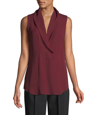 THEORY Shawl-Collar Classic Silk Georgette Shell in Deep Mulberry