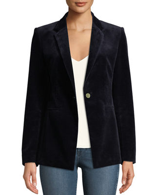 Power One-Button Modern Corduroy Jacket in Navy