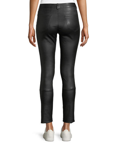 Five-Pocket Skinny-Leg Bristol Leather Cropped Pants