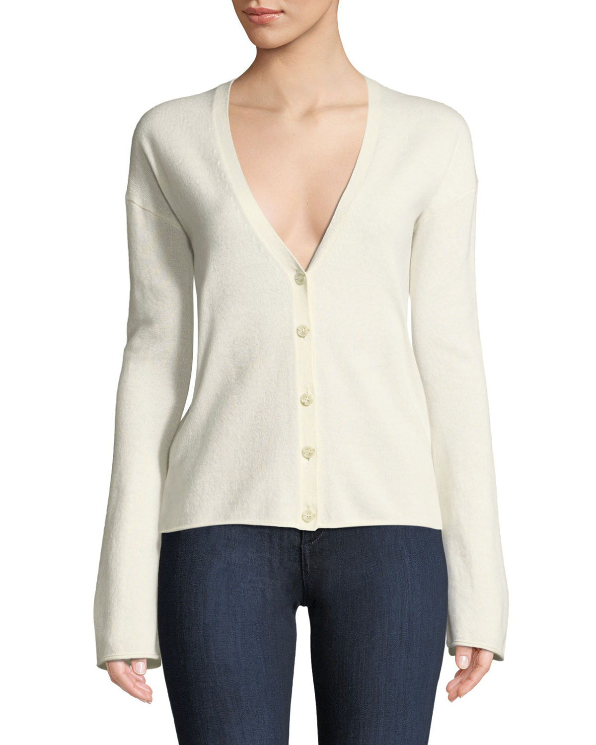Bell-Sleeve V-Neck Button-Front Cashmere Cardigan