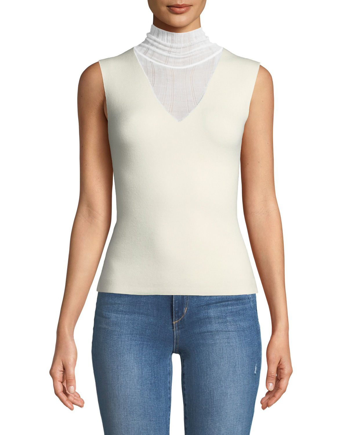 Faux Double-Layer Sleeveless Shell Refine Merino Wool Shell