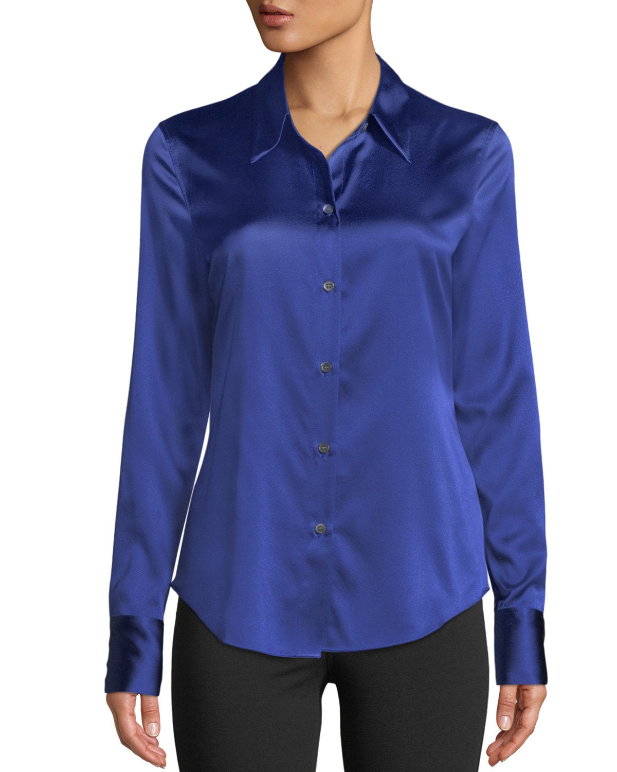 Perfect Fitted 2 Stretch-Satin Long-Sleeve Button-Down Blouse