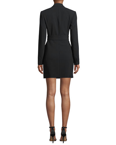 Double-Breasted Belted Admiral Crepe Blazer Dress