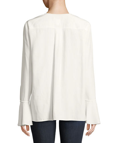 Izzie Matte Silk Blouse w/ Bell Sleeves