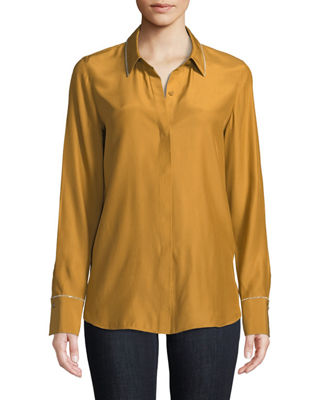 Lafayette 148 New York Scottie Matte Silk Blouse