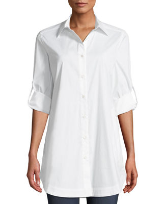 Misook Button-Front Shirt w/ Painter's Pockets