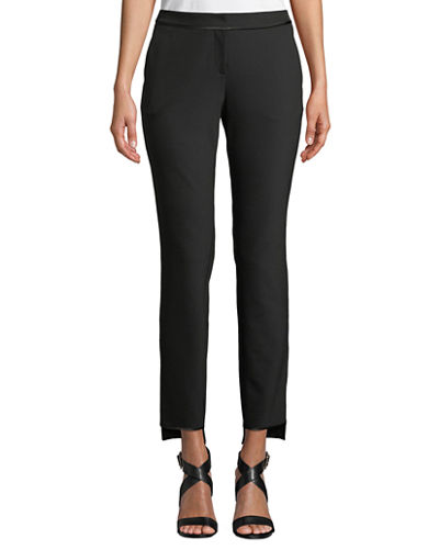 Manhattan Slim-Leg Stretch Pants w/ Step Hem