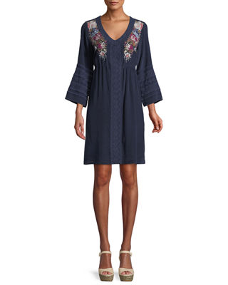 Johnny Was Pascal 3/4-Sleeve Embroidered Silk Crepe de