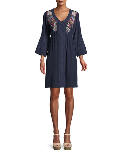 Pascal 3/4-Sleeve Embroidered Silk Crepe de Chine Dress