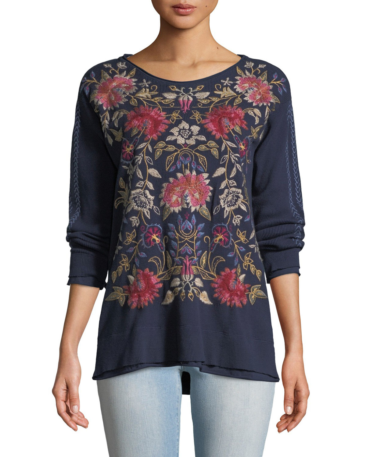 Simona Long-Sleeve Floral-Embroidered Thermal Top, Plus Size