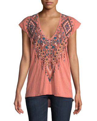 Johnny Was Nala Short-Sleeve Deep Scoop-Neck Embroidered Tee