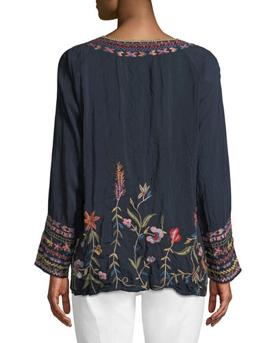 Gella Floral-Embroidered Long-Sleeve Top
