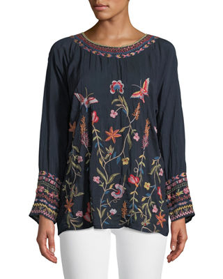 Johnny Was Gella Floral-Embroidered Long-Sleeve Top