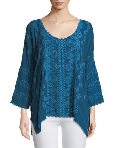 Analusia 3/4-Sleeve Embroidered Top