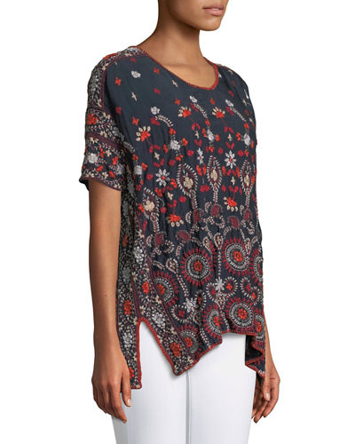 Melia Short-Sleeve Embroidered Blouse