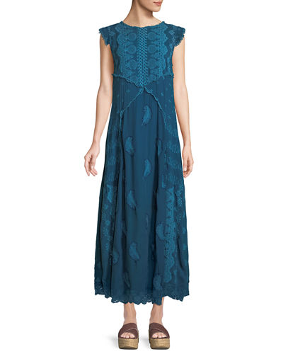 Xanafa Cap-Sleeve Rayon Georgette Maxi Dress