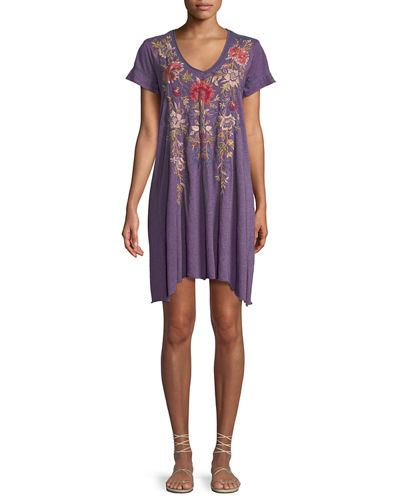 Simona Embroidered Jersey-Blend Tunic Dress