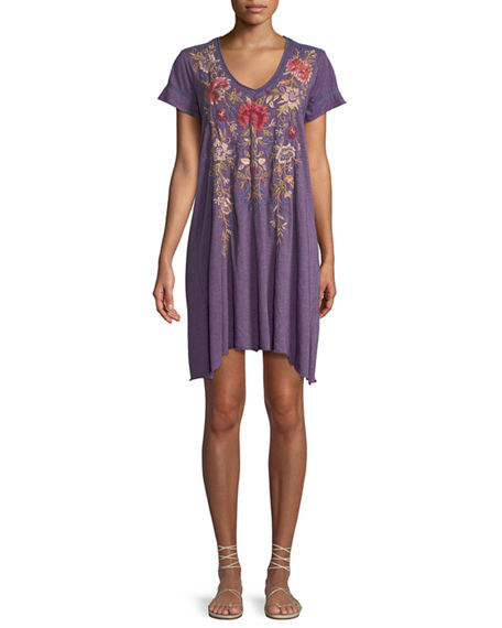 JOHNNY WAS Simona Embroidered Jersey-Blend Tunic Dress, Plus ...