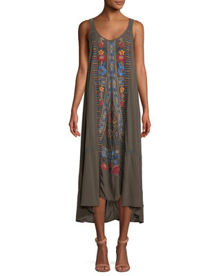 Johnny Was Quipton Sleeveless Embroidered High-Low Dress