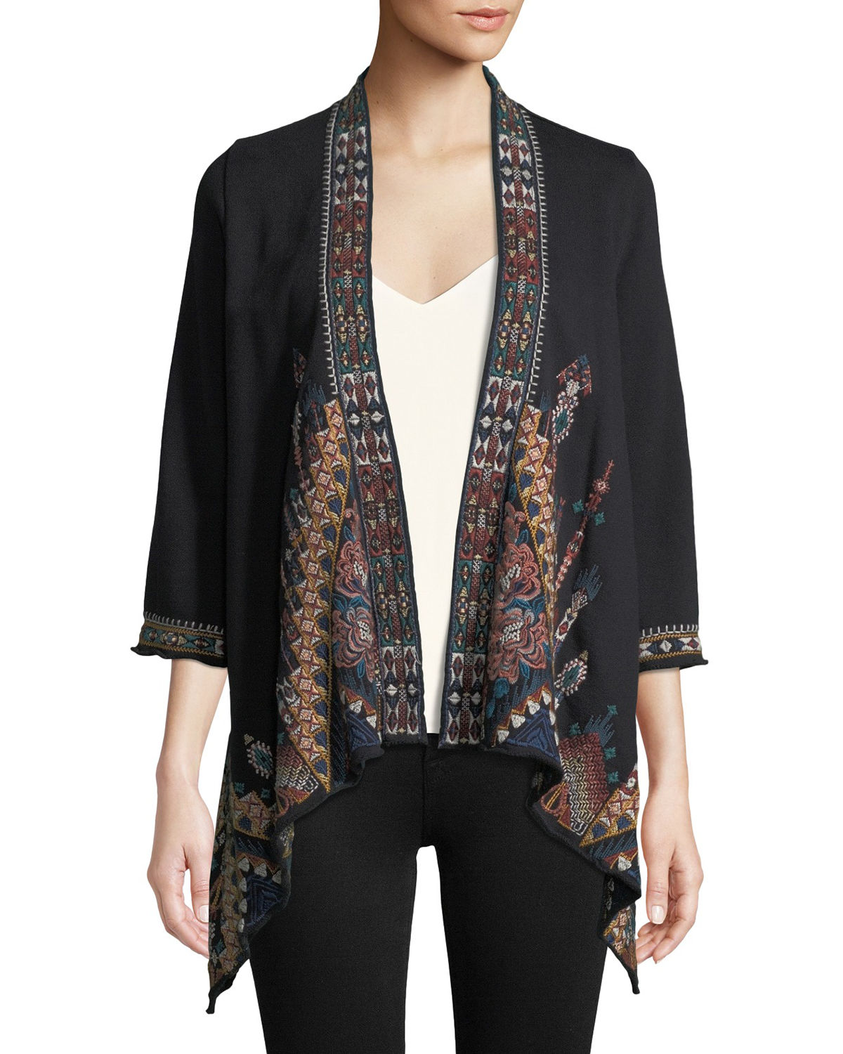Johnny Was Nala Embroidered Knit Draped Cardigan, Plus