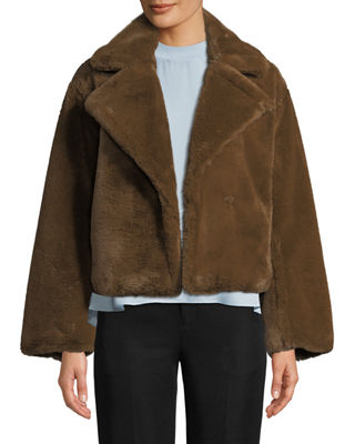 Plush Faux-Fur Coat, Brown