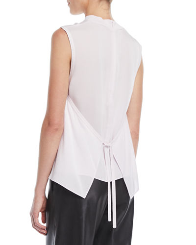 Ribbed-Trim Tie-Back Silk Shell