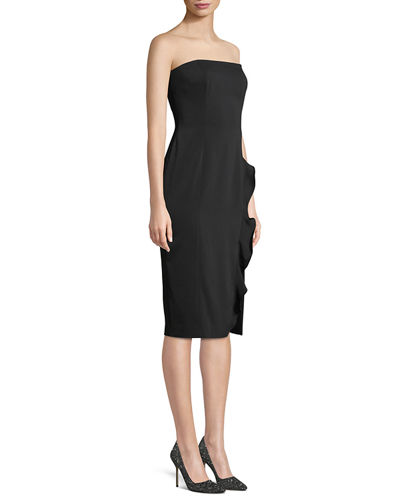 Memphis Strapless Ruffle Slit Midi Cocktail Dress