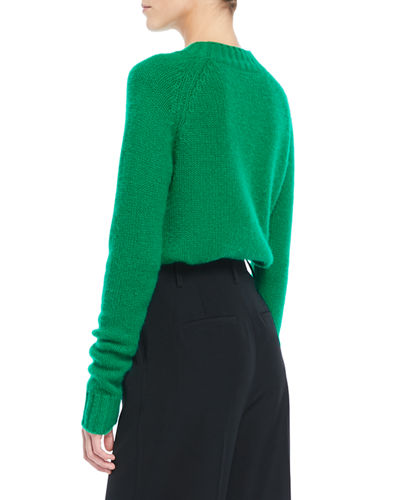 Shrunken Mock-Neck Cashmere Sweater