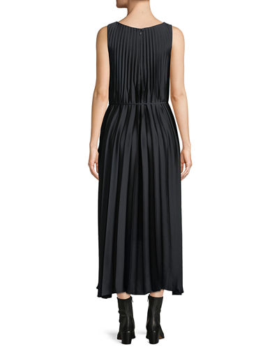 Pleated Self-Tie High-Low Midi Dress
