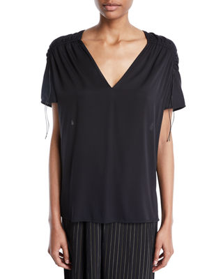 Vince Shirred Short-Sleeve V-Neck Top and Matching Items