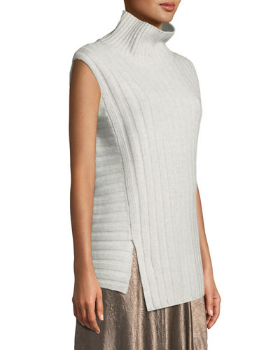 Mixed-Rib Wool-Cashmere Turtleneck Sweater