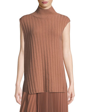 583aede00b7dd9 Vince Mixed-Rib Wool-Cashmere Turtleneck Sweater
