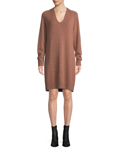 V-Neck Wool-Cashmere Sweater Dress