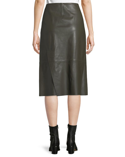 Slit Leather Midi Skirt