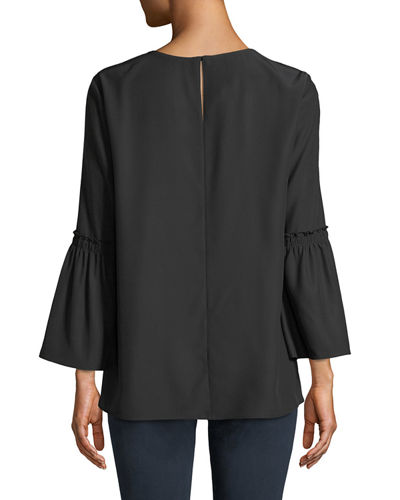 Roslin Bell-Sleeve Top in Matte Silk