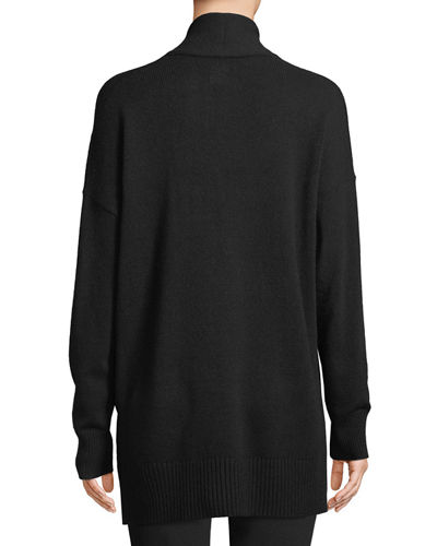 Shawl-Collar Zip-Front Cashmere Cardigan