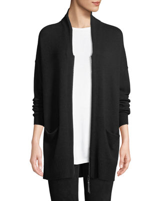 Lafayette 148 New York Shawl-Collar Zip-Front Cashmere Cardigan
