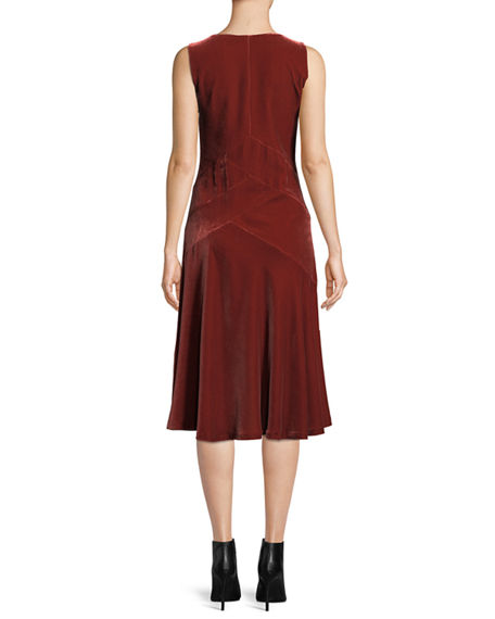 Image 3 of 4: Lafayette 148 New York Ashlena V-Neck Sleeveless Asymmetric Draped Velvet Midi Dress