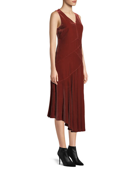 Image 4 of 4: Lafayette 148 New York Ashlena V-Neck Sleeveless Asymmetric Draped Velvet Midi Dress