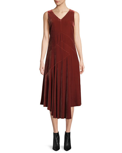 Ashlena V-Neck Sleeveless Asymmetric Draped Velvet Midi Dress