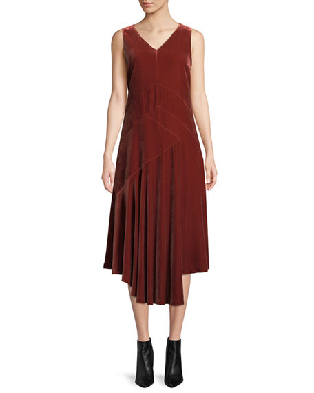 Image 1 of 4: Lafayette 148 New York Ashlena V-Neck Sleeveless Asymmetric Draped Velvet Midi Dress
