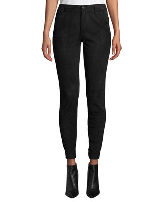 Mercer Skinny Suede & Ponte Pants, Black
